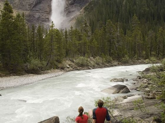 Kicking Horse River with views of Takakkaw Falls, Yoho National Park
