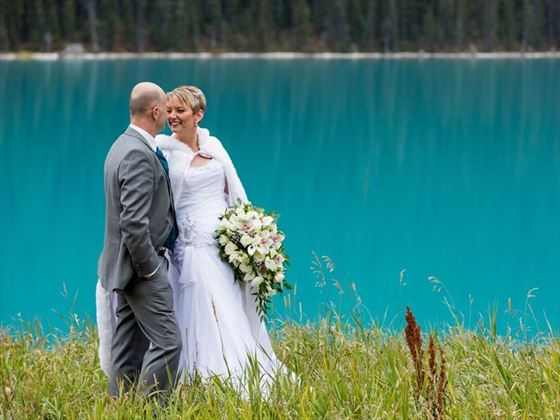 Brid & Groom stroll, Lake Louise
