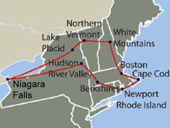 Self drive new england niagara falls boston massachusetts rainbow over niagara falls map of itinerary publicscrutiny Choice Image
