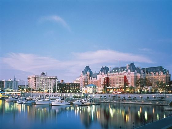 The Fairmont Empress Hotel and marina at Inner Harbour, Victoria