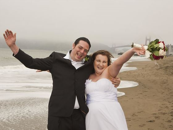 Fun wedding times on Baker Beach