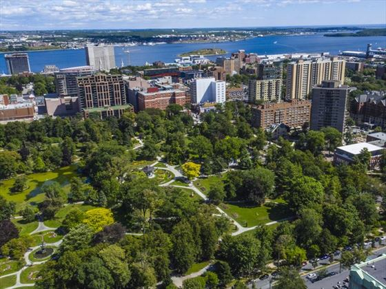 Aerial view Halifax Public Gardens and harbour
