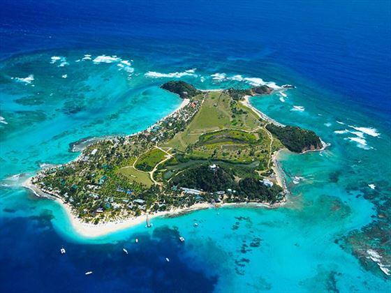 Aerial view of Palm Island in Grenadines