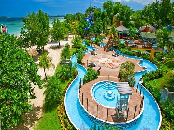 Aerial view of Pirates Island waterpark at Beaches Negril Resort and Spa