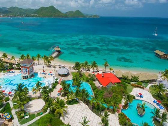 Aerial view of Sandals Grande St Lucian Spa & Beach Resort