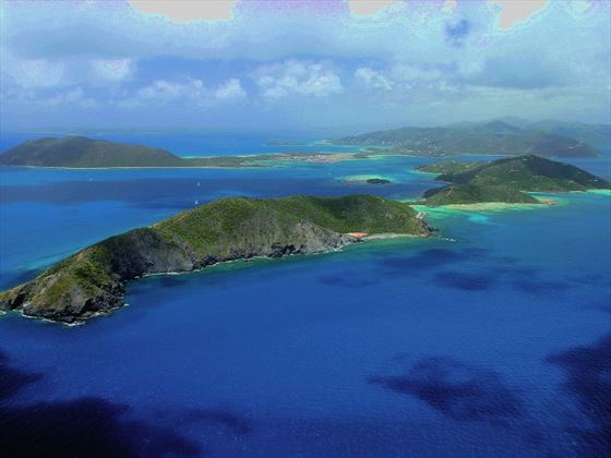 Aerial view of Scrub Island