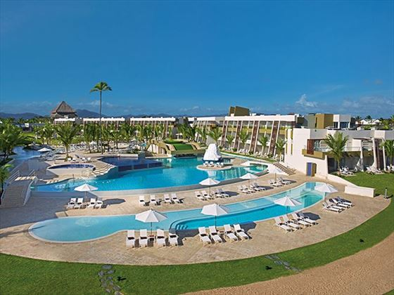 of the large main pool. Enjoy stunning beach views from the sparkling saltwater pool