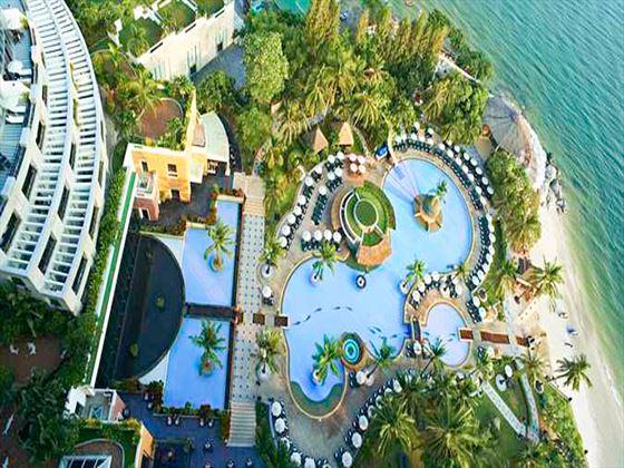 Aerial view of the pools at Hilton Hua Hin Resort & Spa