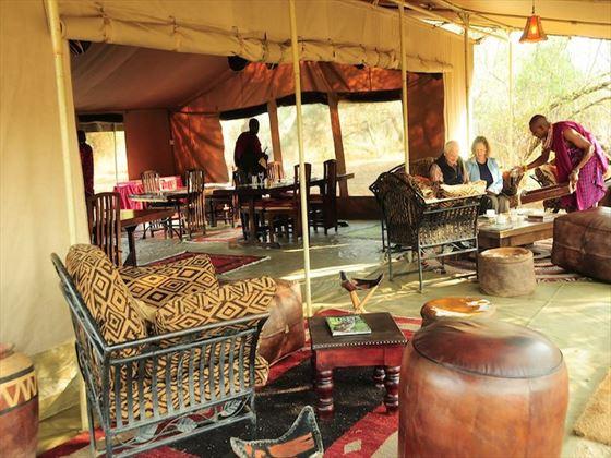 Seating in the mess tent at Amboseli Porini