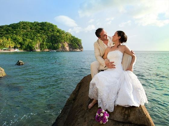 Bride & Groom on Anse Chastanet beach