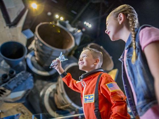 Kids exploring Kennedy Space Centre