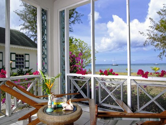 Balcony view at Oualie Beach Resort