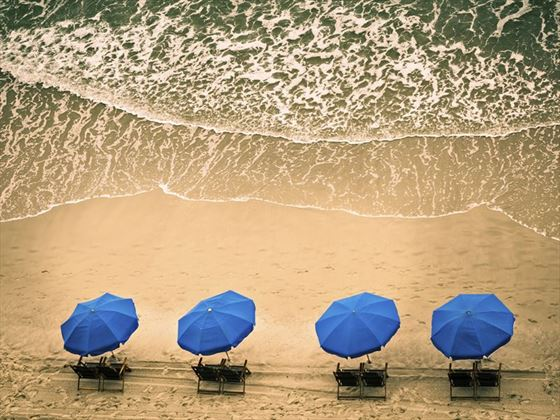 Beach chairs and ocean waves, Myrtle Beach