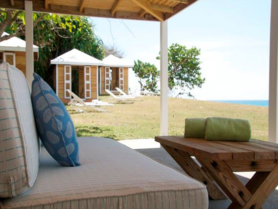 Beach-facing lounge area at Montpelier Plantation Resort