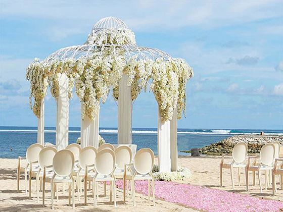 Your beach ceremony setting for the Classic Wedding Package