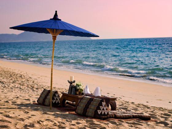 Beachfront lounge area at Anantara Phuket Villas