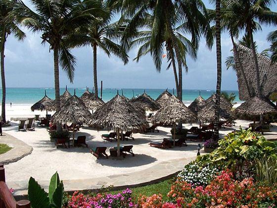 Beachfront loungers at Pinewood Village