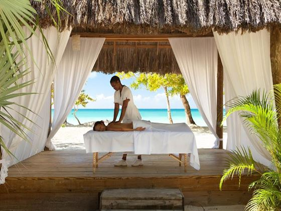 Beachfront spa hut at Couples Negril