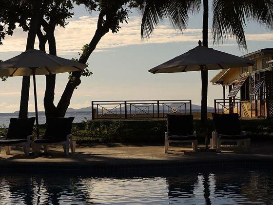 Bequia Beach, pool at sunset