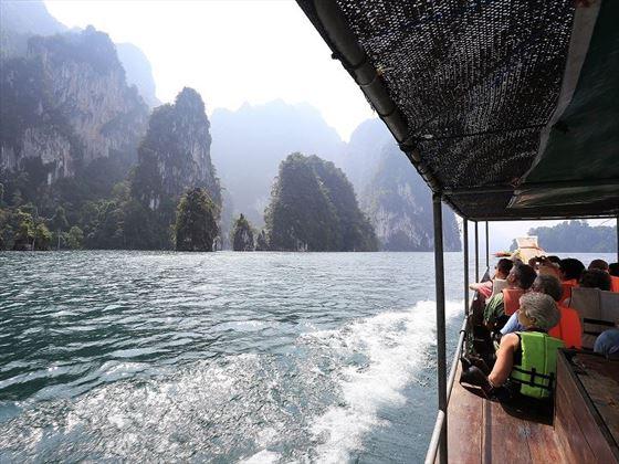 Boast cruise along Cheow Larn Lake, Elephant Hills, Khao Sok