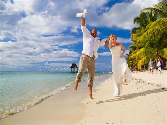 The happy couple celebrating