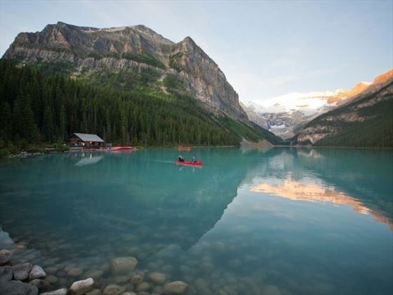 Canoeing along Lake Louise - Paul Zizka