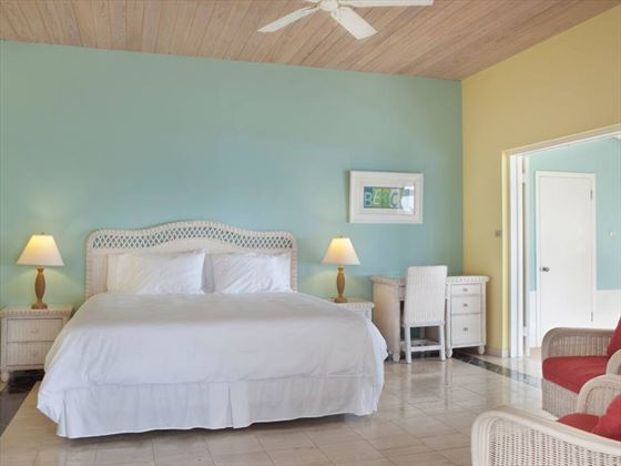 Cape Santa Maria Beach Resort, Long Island, One Bedroom Beach Front Bungalow bedroom