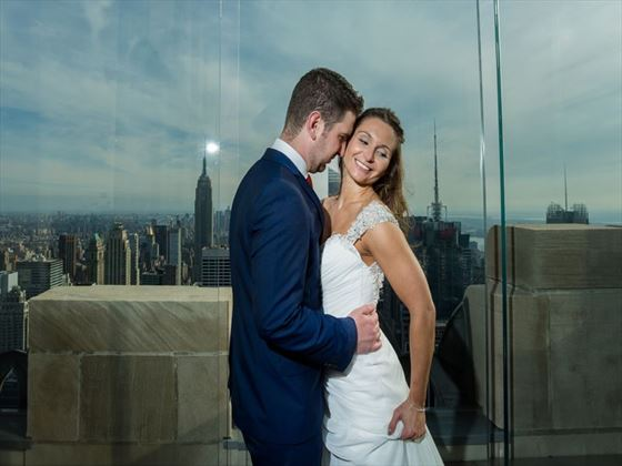 Bride & Groom at Top of the Rock, New York