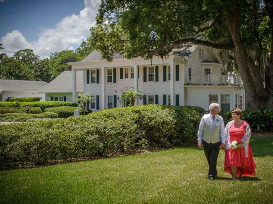 Bride & Groom is the grounds of Cypress Grove