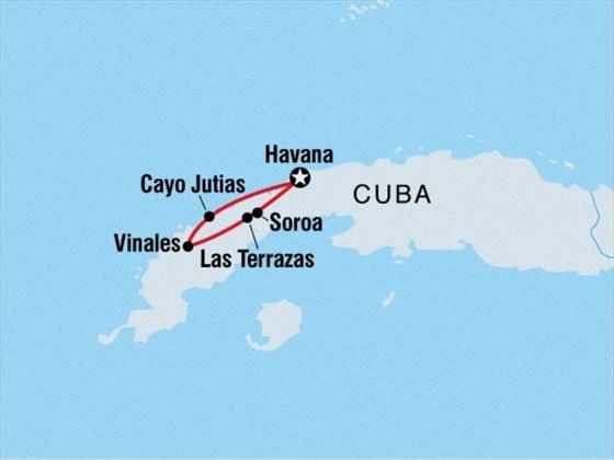 Map of Classic Cuba tour