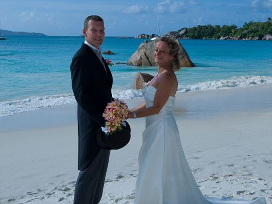Wedding couple at Coco de mer