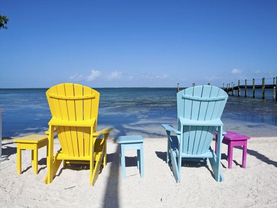 Coloured chairs beachside in Key Largo