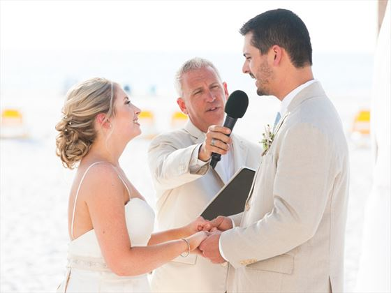 Exchanging vows on Clearwater beach