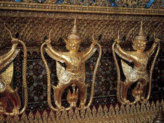 Decorative statues outside a temple