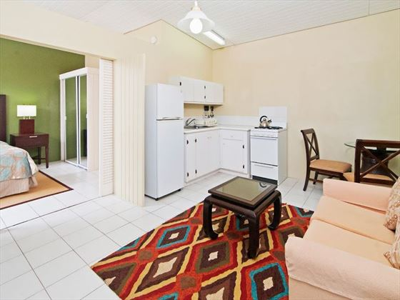 Deluxe One-Bedroom kitchenette at Blue Horizons