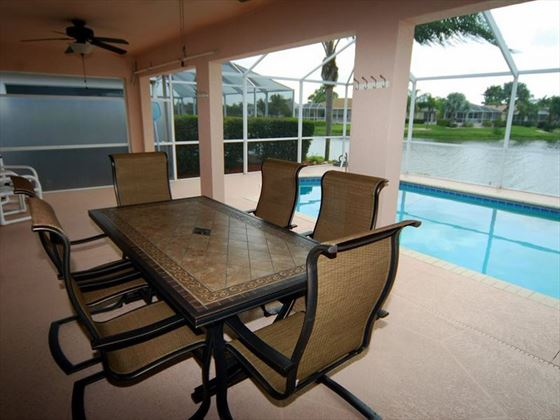 Dining area at Fort Myers Area Pool Homes