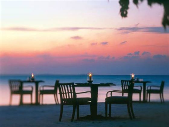 Dining at sunset on the beach