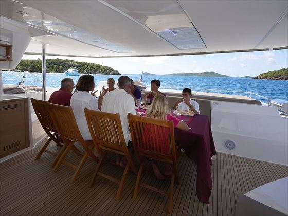 Dining on board Sanya 57
