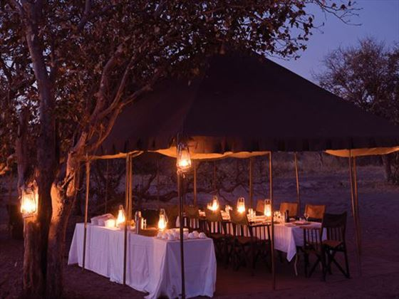 Dining tent at Savute Under Canvas