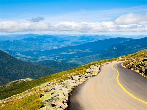Driving through Mount Washington State Park, New Hampshire