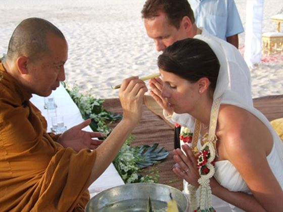 Traditional Thai blessing at the Pimalai Resort & Spa