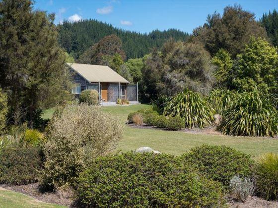Exterior view of Abel Tasman Marahau Lodge chalet