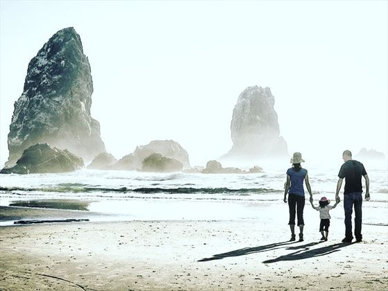 Family on Cannon Beach, Oregon