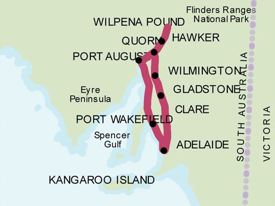 Flinders Ranges 4WD Experience map
