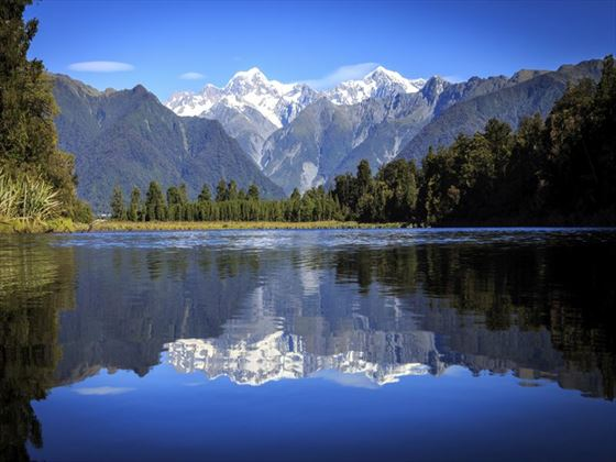 Franz Josef Glacier from Lake Matheson
