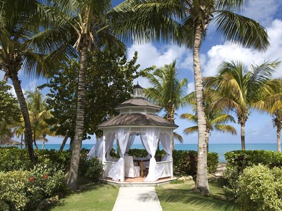 Beautiful gazebo setting for the ceremony with ocean view