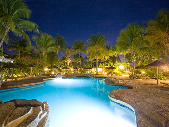 Galley Bay Resort & Spa pool at night