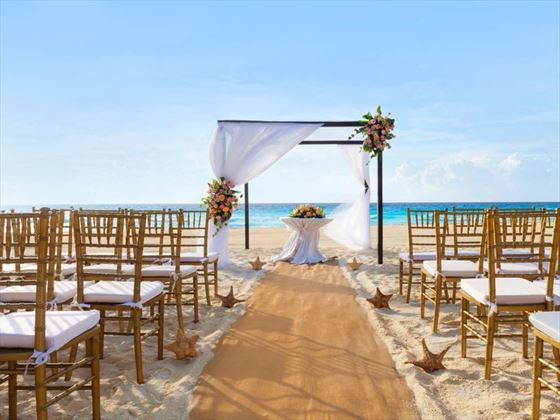 Beach style ceremony, Bride & Groom on the beach at Gran Caribe Resort & Spa