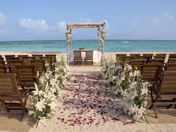 Beadh wedding set up at Grand Velas Riviera Maya
