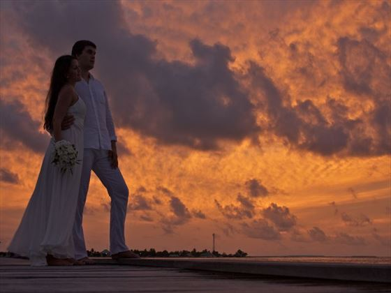 The happy couple at sunset